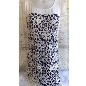 Charming Charlie Dress Crochet Floral Lace Overlay